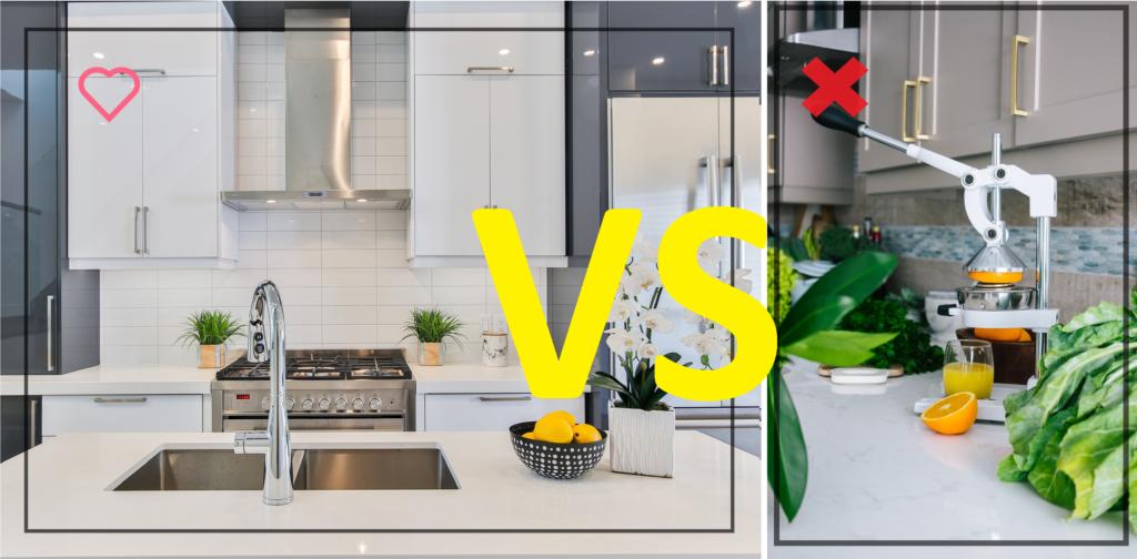 Visuel comparant une cuisine épurée et une cuisine avec un comptoir encombré
