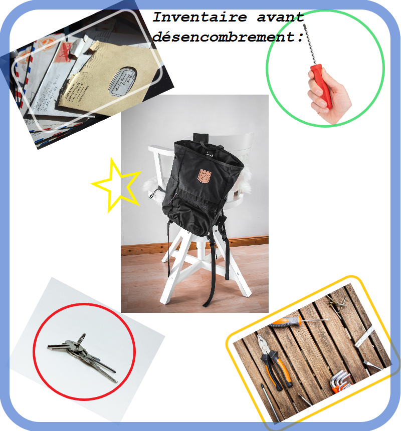 objets divers tels que courriers, sac à dos, clefs, petits outils souvent présents dans la cuisine